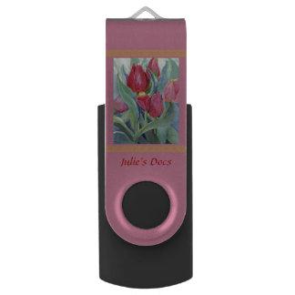 Memoria USB Tulipanes en acuarela roja y rosada