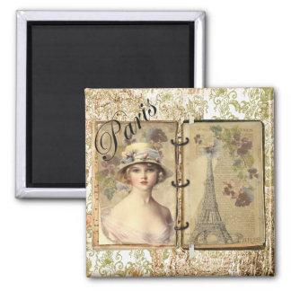 Memorias de París - mujer/torre Eiffel del vintage Imán