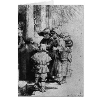 Mendigos en el umbral de una casa, 1648 tarjeta de felicitación