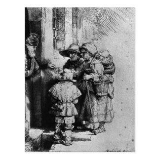 Mendigos en el umbral de una casa, 1648 postal