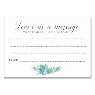 Mensaje a las tarjetas del Succulent de novia y
