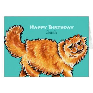 Mensaje anaranjado del personalizado del gato tarjeta de felicitación