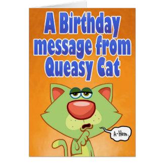 Mensaje bascoso del cumpleaños del gato tarjeta de felicitación