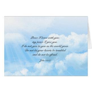 Mensaje cristiano de la condolencia del cielo azul tarjeta pequeña