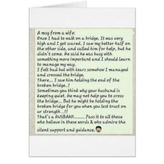 Mensaje de la esposa tarjeta