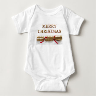 Mensaje del oro de las Felices Navidad en mono del Body Para Bebé