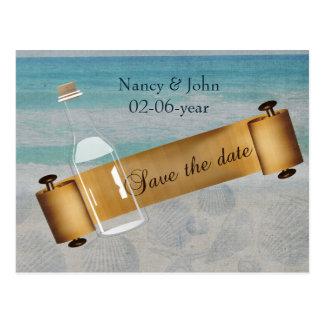 Mensaje en un boda de playa de la botella postal