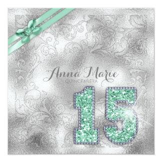 Menta de plata ID382 del cumpleaños de Quinceanera Invitación 13,3 Cm X 13,3cm
