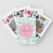 Menta e impresión con monograma del damasco del ro barajas de cartas