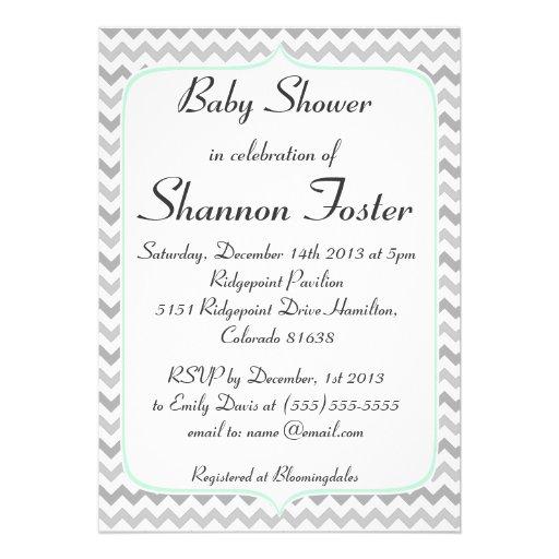 Menta elegante y fiesta de bienvenida al bebé gris comunicado personal