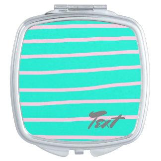 menta elegante y rayas rosadas espejos compactos