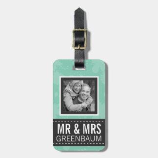 Menta suave y Sr. y señora grises Personalized Pho Etiquetas Para Maletas