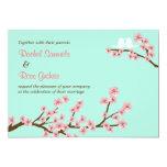 Menta y boda rosado de la flor de cerezo anuncio personalizado