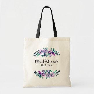 Menta y criada floral púrpura del boda de la bolso de tela