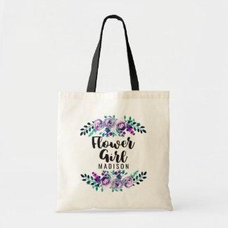 Menta y florista floral púrpura del boda de la bolso de tela