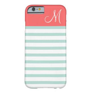 Menta y monograma de muy buen gusto coralino del funda de iPhone 6 barely there