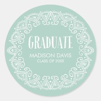 Menta y pegatinas gitanos blancos de la graduación pegatina redonda