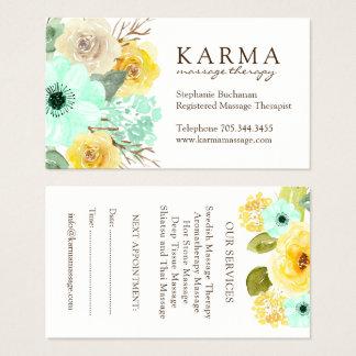 Menta y tarjetas de visita florales del amarillo