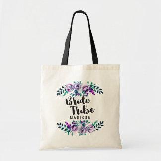 Menta y tribu floral púrpura de la novia del boda bolso de tela