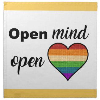 Mente abierta, corazón abierto servilleta de tela
