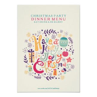 Menú alegre del fiesta de cena de navidad del invitación 12,7 x 17,8 cm