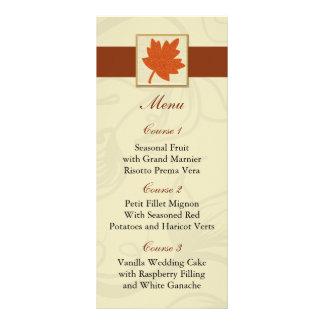 menú anaranjado del boda de la caída folleto publicitario 10 x 22,8 cm