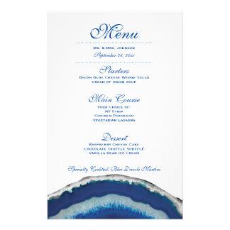 Menú azul de la cena de boda de Geode Folleto 14 X 21,6 Cm