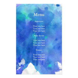 Menú azul del boda de la acuarela folleto 14 x 21,6 cm