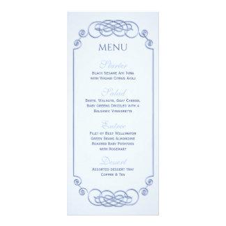 Menú azul del boda del Filagree Tarjetas Publicitarias