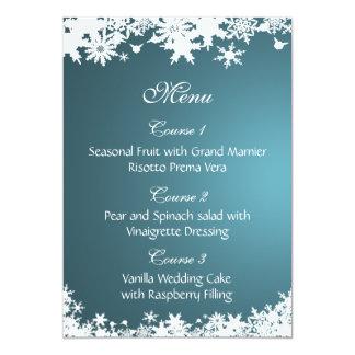 menú azul del boda del invierno de los copos de invitación 12,7 x 17,8 cm