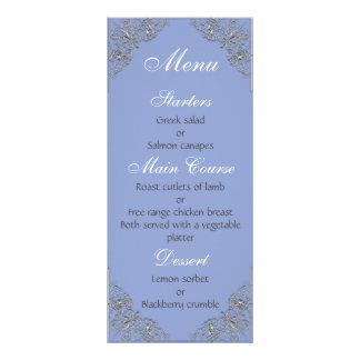 Menú azul y metalizado elegante del boda del