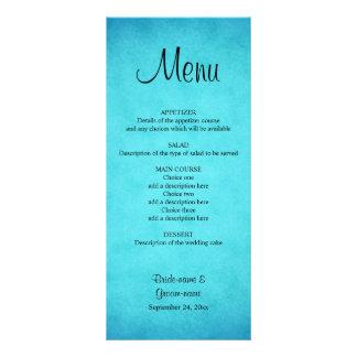 Menú azul y negro del boda tarjeta publicitaria a todo color