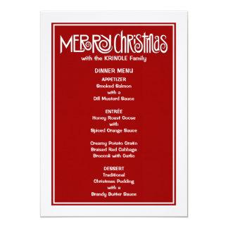 Menú blanco de la cena de las Felices Navidad Invitaciones Personales