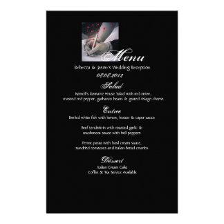 menú blanco del boda del vintage del negro elegant papelería personalizada