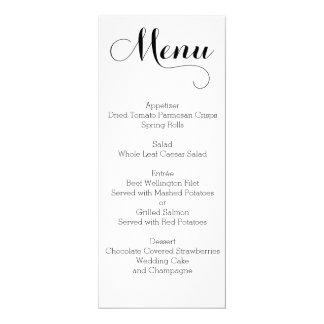 Menú blanco llano del boda personalizado invitación 10,1 x 23,5 cm