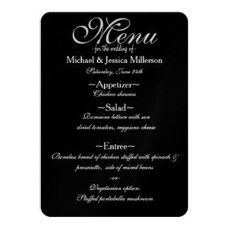 Menú blanco y negro del boda de Quatrefoil Invitación 11,4 X 15,8 Cm