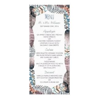 Menú bohemio del boda de las plumas tribales tarjetas publicitarias personalizadas