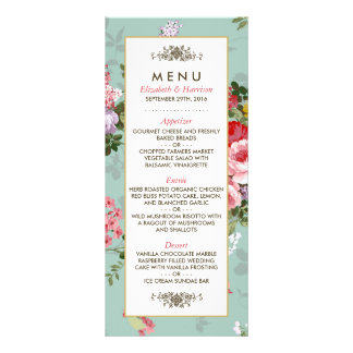 Menú botánico del boda del jardín floral del tarjeta publicitaria personalizada