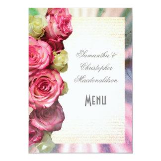 Menú color de rosa rosado de la bodas de plata invitación 12,7 x 17,8 cm