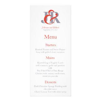 Menú contemporáneo del boda del monograma de la diseños de tarjetas publicitarias