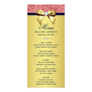 Menú coralino del boda del arco de los diamantes
