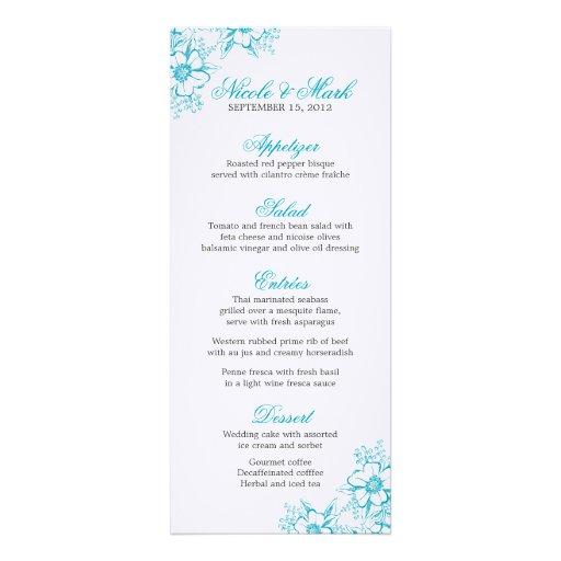 Menú de encargo del boda de la prensa de copiar fl invitaciones personalizada