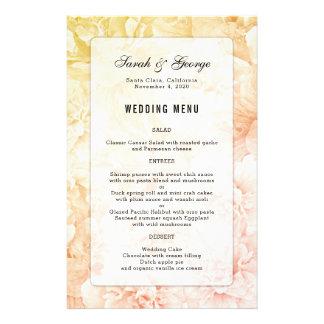 Menú de encargo del boda del fondo floral rosado