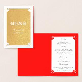 Menú de encargo elegante de la cena de boda del