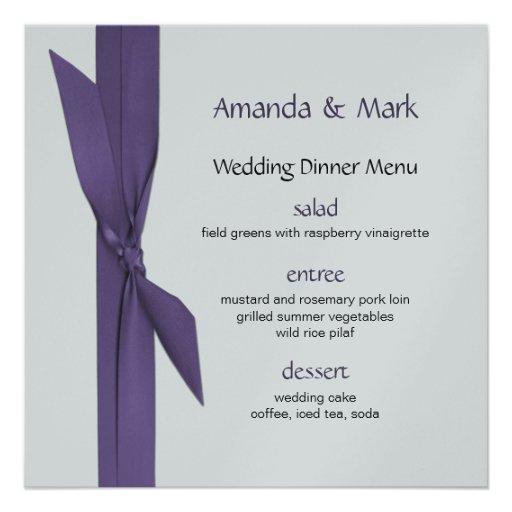 Menú de la bodas de plata con la cinta púrpura comunicados