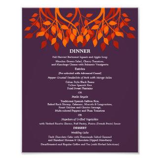 menú de la cena de 8 x 10 tablas para capítulo impresion fotografica