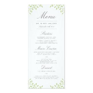 Menú de la cena de boda del jardín secreto - verde invitación 10,1 x 23,5 cm