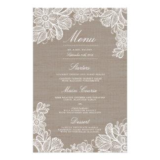 Menú de la cena de la arpillera y de boda del folleto 14 x 21,6 cm