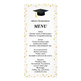 Menú de la cena de la graduación, estrellas, gorra