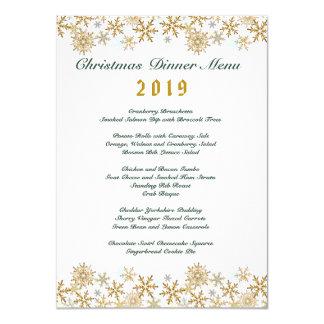 Menú de la cena de navidad blanco de los copos de invitación 11,4 x 15,8 cm